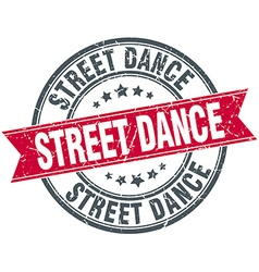 Street dance red round grunge vintage ribbon stamp vector