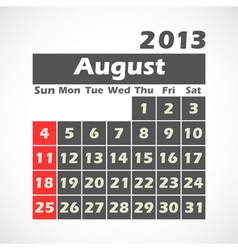 Calendar 2013 August vector image
