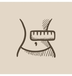 Waist with measuring tape sketch icon vector