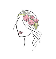 beautiful young girl with a rim with flowers on vector image