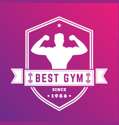best gym vintage logo white badge with athlete vector image vector image
