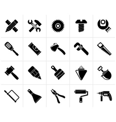 Black construction tools object icons vector