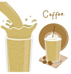 Coffee cup splash breakfast cartoon vector