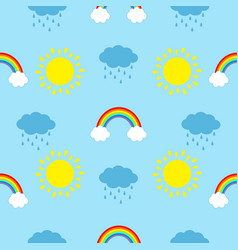 Cute cartoon kawaii sun cloud with rain rainbow vector