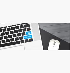 Elearning key on laptop computer keyboard online vector