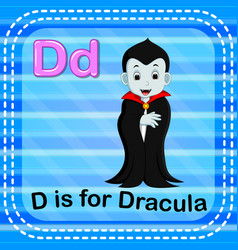 Flashcard letter d is for dracula vector