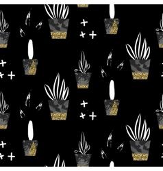 Glitter black scandinavian ornament gold vector image vector image