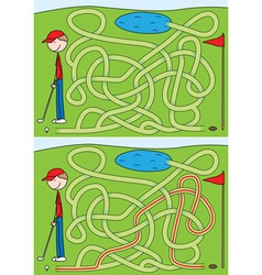 golf maze for kids vector image