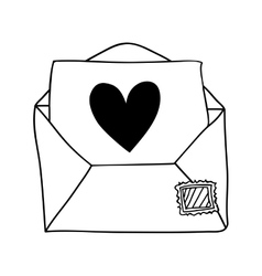 Hand drawing of contour envelope mail with heart vector