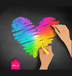 Hands drawing rainbow colored heart vector