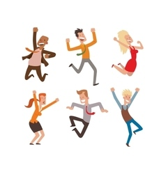 Happy jumping people set vector