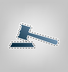 Justice hammer sign blue icon with vector