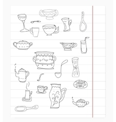 Kitchen equipment isolated hand drawn doodle vector image vector image