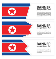 Korea north flag banners collection independence vector