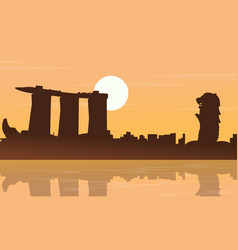 Landscape of singapore city silhouettes collection vector