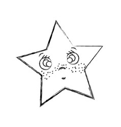 Line kawaii surprised and cute star design vector