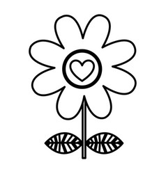 monochrome silhouette of daisy flower with emblem vector image