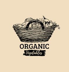 Organic vegetables poster farm fresh eco vector