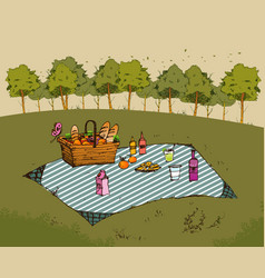 outdoor picnic in park vector image