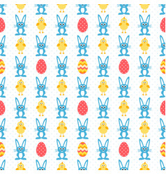 Pattern with eggs blue rabbit and easter chick vector