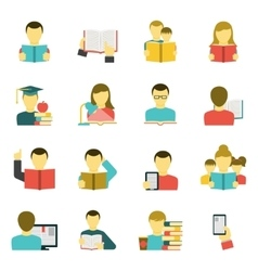 Reading Icons Set vector image vector image