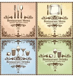 Restaurant cutlery and drinks set vector