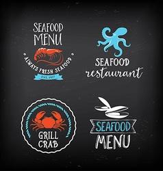 Seafood menu and badges design elements vector image