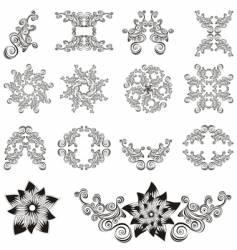 set of decorative floral elements vector image vector image