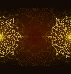 Shiny floral mandala background with gold glitter vector