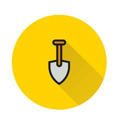 shovel icon on round background vector image