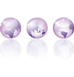 three glass world globe views vector image