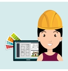 Woman architecture laptop plans vector