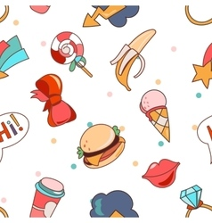 Seamless pattern cartoon patch badges vector