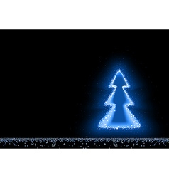 Blue Glowing Christmas Tree vector image