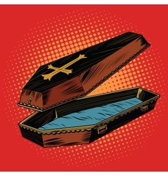 Wooden coffin with christian cross vector