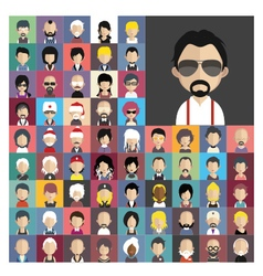 Set of people icons in flat style with faces 01 a vector