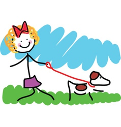 Little Girl and Dog Drawing vector image