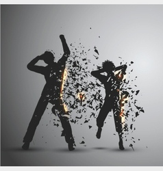 Exploding silhouettes vector image
