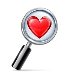Magnifying glass and heart vector