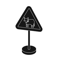Warning road sign icon in monochrome style vector