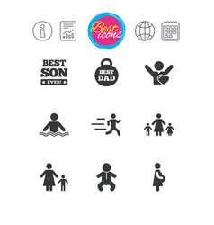 people family icons swimming baby signs vector image
