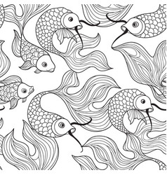 Fish seamless pattern hand drawn doodle line vector