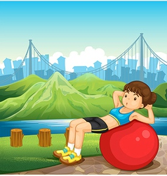 A girl exercising near the river across the tall vector
