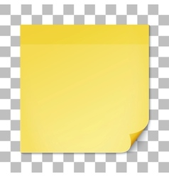 Yellow stick note on transparent texture backdrop vector