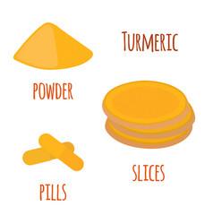 Turmeric root spice slicespowder pills vector