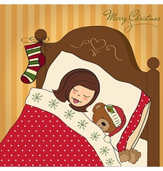Little girl waiting for santa on christmas eve vector