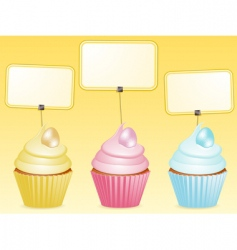 Easter cupcake and label vector image