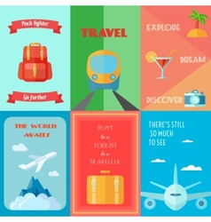 Travel poster set vector