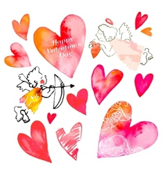 Set of hearts and cupids valentine day vector