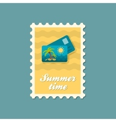 Card with palm flat stamp summertime vector